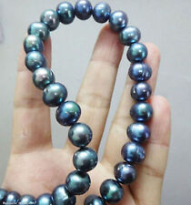 AAA+ GENUINE 9-10MM TAHITIAN BLACK PEARL NECKLACE 18inch