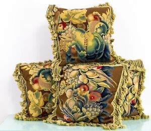Antique Early to Mid 20th Century Country House Pair of Tapestry Cushions
