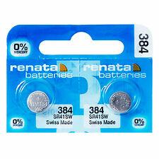 2 x Renata 384 Pila Batteria Orologio Mercury Free Silver Oxide SR41SW 1.55V