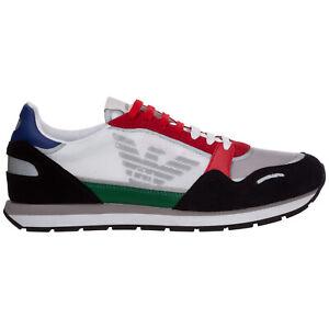 Emporio Armani basket homme X4X537XM6781N640 daim logo Bianco tennis sneakers
