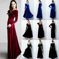 Women Elegant V Neck Long Sleeve Velvet Party Evening Long Maxi Dress Plus Size.