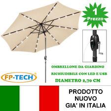 OMBRELLONE DA GIARDINO BEIGE CHIARO CON PANNELLO SOLARE 24 LED E USB INCORPORATI