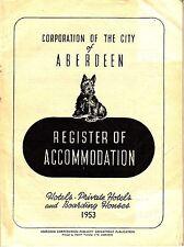 Corporation of the City of Aberdeen Register of Accomodation 1953 Bklt Scotland