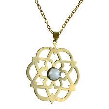 Modeschmuck-Halsketten & -Anhänger aus Stein und Messing mit Mondstein