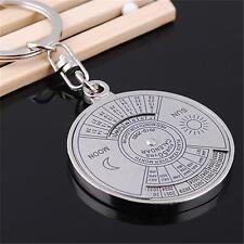 50 Years Metal Perpetual Keyfob Calendar Sun & Moon Compass Keyring Keychain New