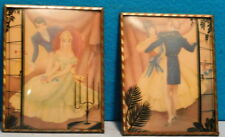 Silhouette Pictures - A Pair - Curved Glass - 1940-1950
