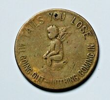 Cascarets Bowels Heads/Tails Store Card Token - worn & holed - chamber pot angel