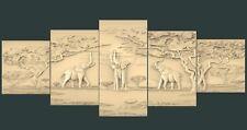 (1101) STL Model Elephants for CNC Router 3D Printer Artcam Aspire Bas Relief