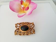 💎💎💎 Gorgeous Estate jewelry signed Kate Hines gold tone fancy Scarab brooch
