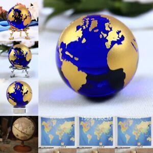Erde Globe 12.7cm Holz Vintage Verzierungen Dekor Weltkugel Constellation Karte