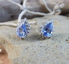 New .70ctw Genuine Tanzanite Diamond Halo 925 Sterling Silver Earrings  #811