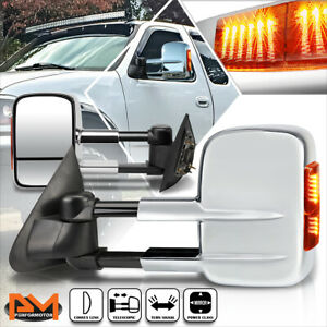 For 97-04 Ford F150/97-99 F250 Power Adjust Towing Mirror w/LED Signal Lamp Pair