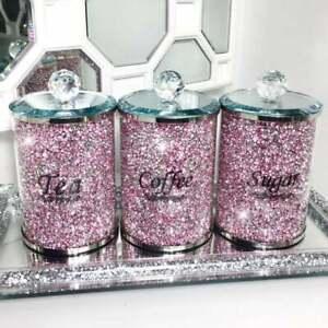PINK CRUSHED DIAMOND CRYSTAL FILLED TEA COFFEE SUGAR CANISTERS JARS