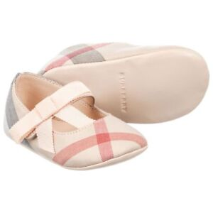 NIB NEW Burberry Stark girls pink beige nova check ballerina shoes 15 17 2 19 3