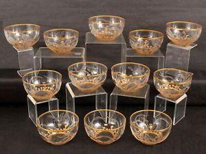 12 Antique Harrach Moser Art Nouveau Intaglio Cut Carved Gold Gilt Dessert Bowls
