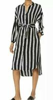 NWT DUBGEE By Whoopi Black/White Long Sleeve Belted Tunic Dress Women's Size L