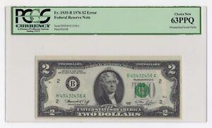 "$2 1976 Federal Reserve Note Error ""Mismatched Prefix "" PCGS Choice New 63 PPQ"
