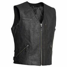 Halvarssons Cut Leather Motorbike Motorcycle Vest Black