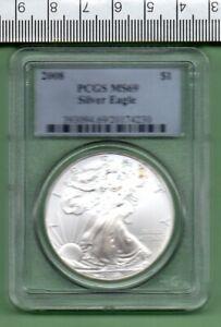2008 U.S.A. GENUINE SLABBED SILVER EAGLE PCGS MS 69