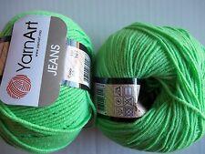 YarnArt Jeans cotton blend yarn, Hot Lime, lot of 2, (174 yds each)