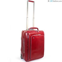 PIQUADRO luxury red true leather rolling carry on suitcase 2 wheels Small 21""