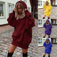Long Pullover Dress Sleeve Jumper Tops Sweater Hooded Sweatshirt Hoodies Womens