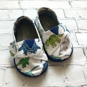 Toms Toddler Boys Canvas Dinosaurs Slip On Shoes Size T4 White Blue Green Dino
