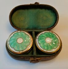 1920's Antique Guilloche Enamel Powder Compacts w/Mirror & leather carrying case