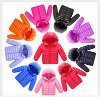 Boys&Girls Winter Kids Duck Down Snowsuit Hooded Warm Quilted Puffer·Coat Jacket