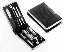 8pcs Mens Manicure Pedicure Set Pro Nail Care Kit In Leather Travel Pouch Gift