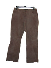 Route 66 Brown Leather Pants 14 Women Button Fly
