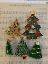 Lot of 5 Vintage Christmas Tree Brooches