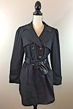 Cynthia Rowley Women's Trench Coat Jacket Size XL Faux Leather Belt Solid Black