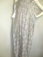 Donna Morgan Size 6 Long Shiny Taupe Lace Dress Spaghetti Straps Ball Gown NWT