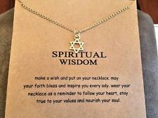 "Star of David Necklace gold dipped Gift 16-18"" spiritual wisdom Jewish faith"