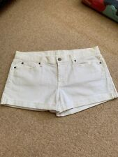 The Perfect 7 For All Mankind White Roll Up Denim Shorts Size 31 NWOT