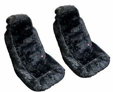 2x Black Authentic Sheep Skin Front Seat Covers - Genuine Plush Sheepskin HS3