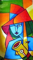 peinture TOILE  musicienne CRYLIQUE 60X105 CM SIGNE art moderne abstrait naif