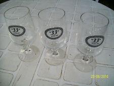 3 VERRES BIERE PUBLICITE 33EXTRA DRY ENVERRE 25CL VINTAGE DRINK ADVERTISING BEER