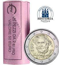 25 x Italien 2 Euro 2013 Giuseppe Verdi Gedenkmünzen prägefrisch in Rolle