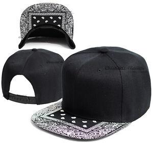 Bandana Baseball Cap Snapback Adjustable Hat Paisley Hip Hop Flat Bill Blank Men