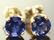 3.20ct Natural VS Blue Sapphire 14K Yellow Solid Gold Stud Earrings Push Back