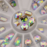 36PCS 3D Design Vogue Nail Art Manicure Wheel Decoration Glitter AB Rhinestones