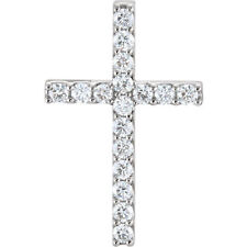 Petite Cruz Diamante 45.7cm Collar en 14k ORO BLANCO ( 1 CT. TW