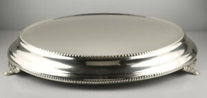 """45cm Silver Plated Plateau Beaded Round 18"""" Wedding Cake Stand Plate Party"""