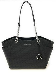 New Michael Kors Large Jet Set Travel Leather /Signature Chain Shoulder Tote Bag