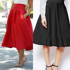 Women Stretch High Waist Plain Flared Pleated Swing  A-line Midi Skirt Dress