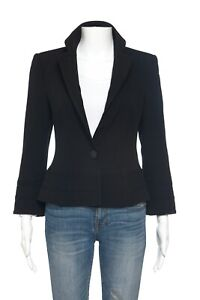 EMPORIO ARMANI Black Button Blazer 6 Notch Jacket Pleated Small Fitted Formal V