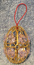 Rare Faberge Imperial Collection Pink Swarovski Crystal Egg Christmas Ornament