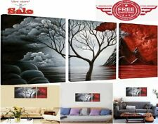 Oil Art Canvas Wall Framed 3 Panels Modern Red Abstract Painting Prints to Hang